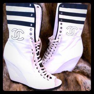 Chanel Cruise 2011 Wedge Ankle Peeptoe boots